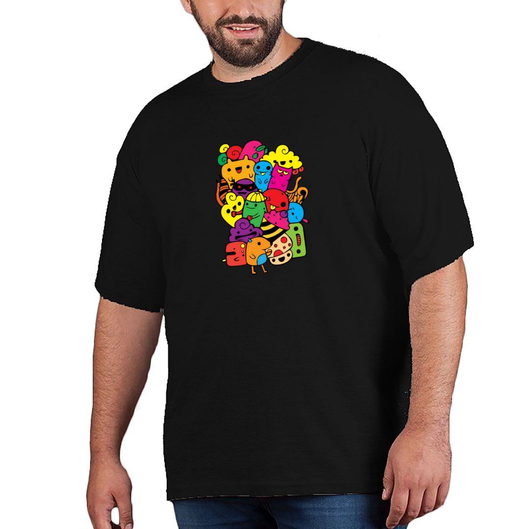 192580e8 Cartoon Animals Plus Size T Shirt Black Front