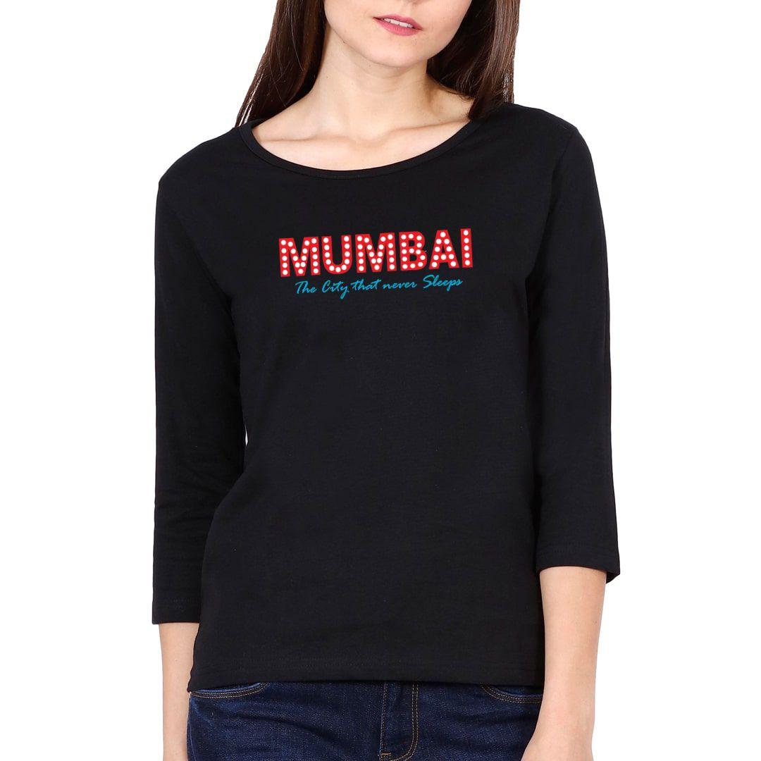 1f54ea63 Mumbai – The City That Never Sleeps Elbow Sleeve Women T Shirt Black Front