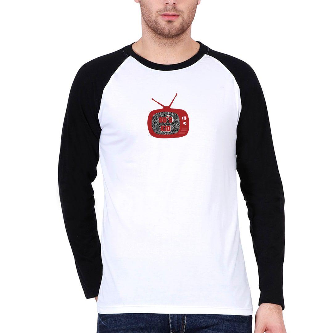 20e773be Old Tv 90s Kid Men Raglan Full Sleeve T Shirt Black White Front