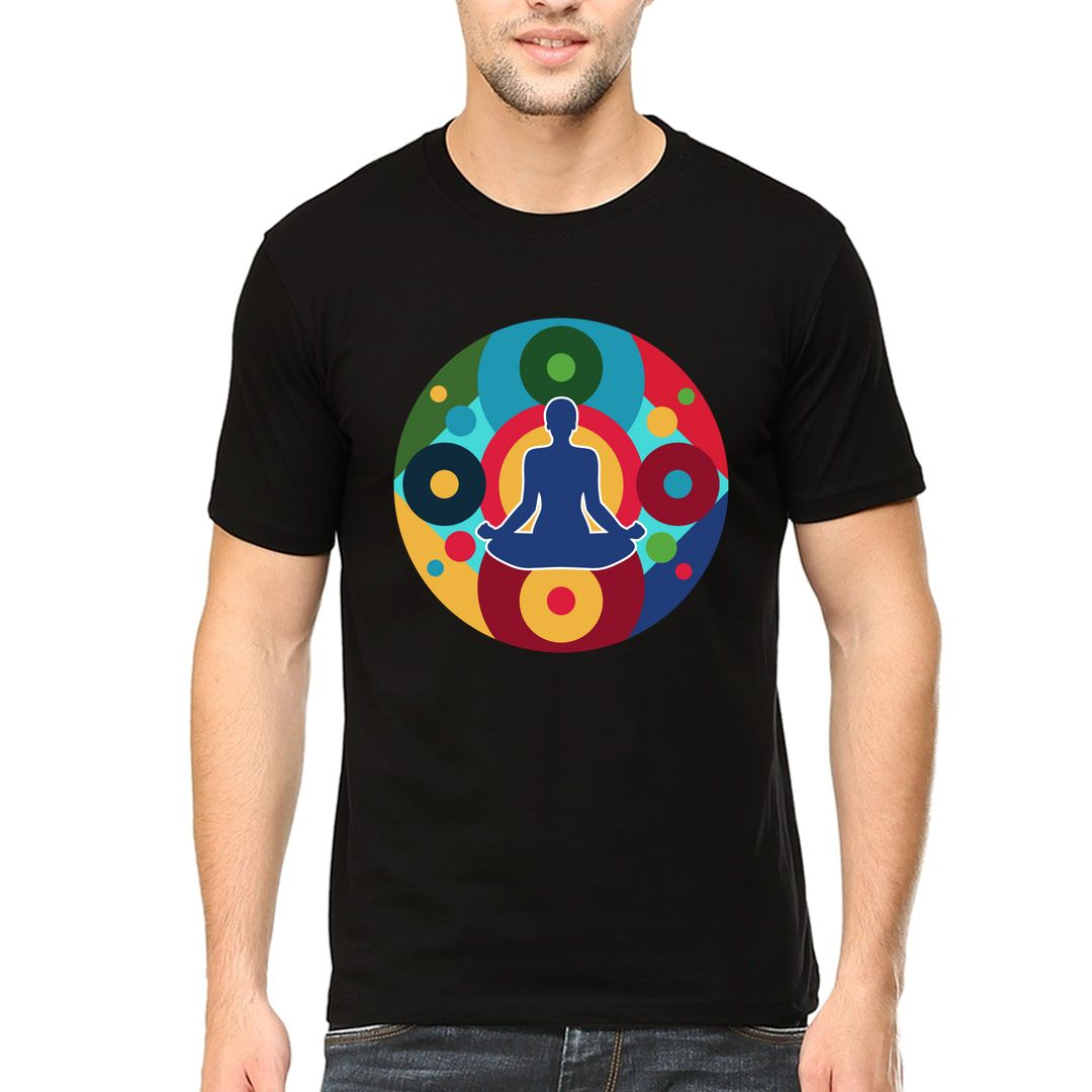 221add51 Yoga Chakras Men T Shirt Black Front