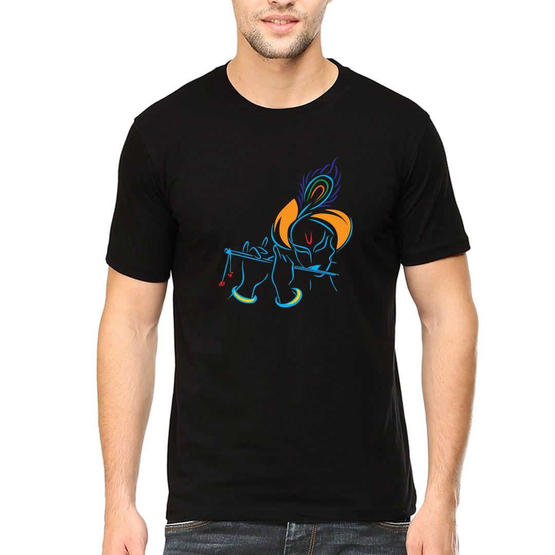 22eb6be5 Krishna Playing Flute Line Drawing Men T Shirt Black Front