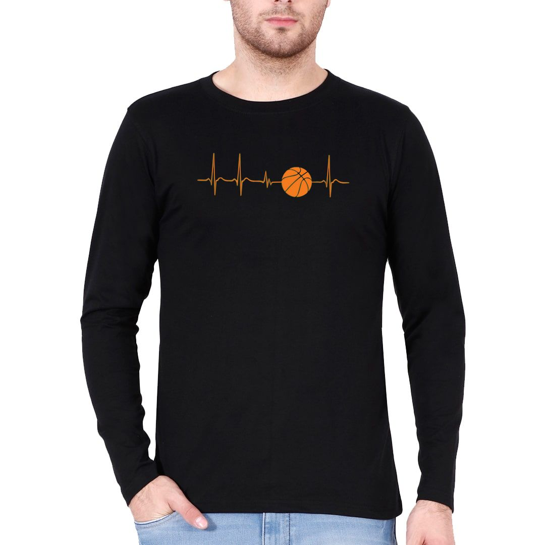 2738f96e Basketball Its In My Heartbeat Full Sleeve Men T Shirt Black Front