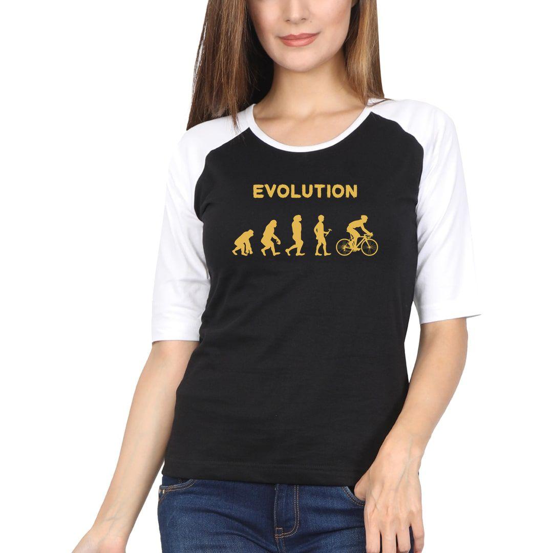 2b0f5b89 Evolution Of Cyclist Women Raglan Elbow Sleeve T Shirt White Black Front