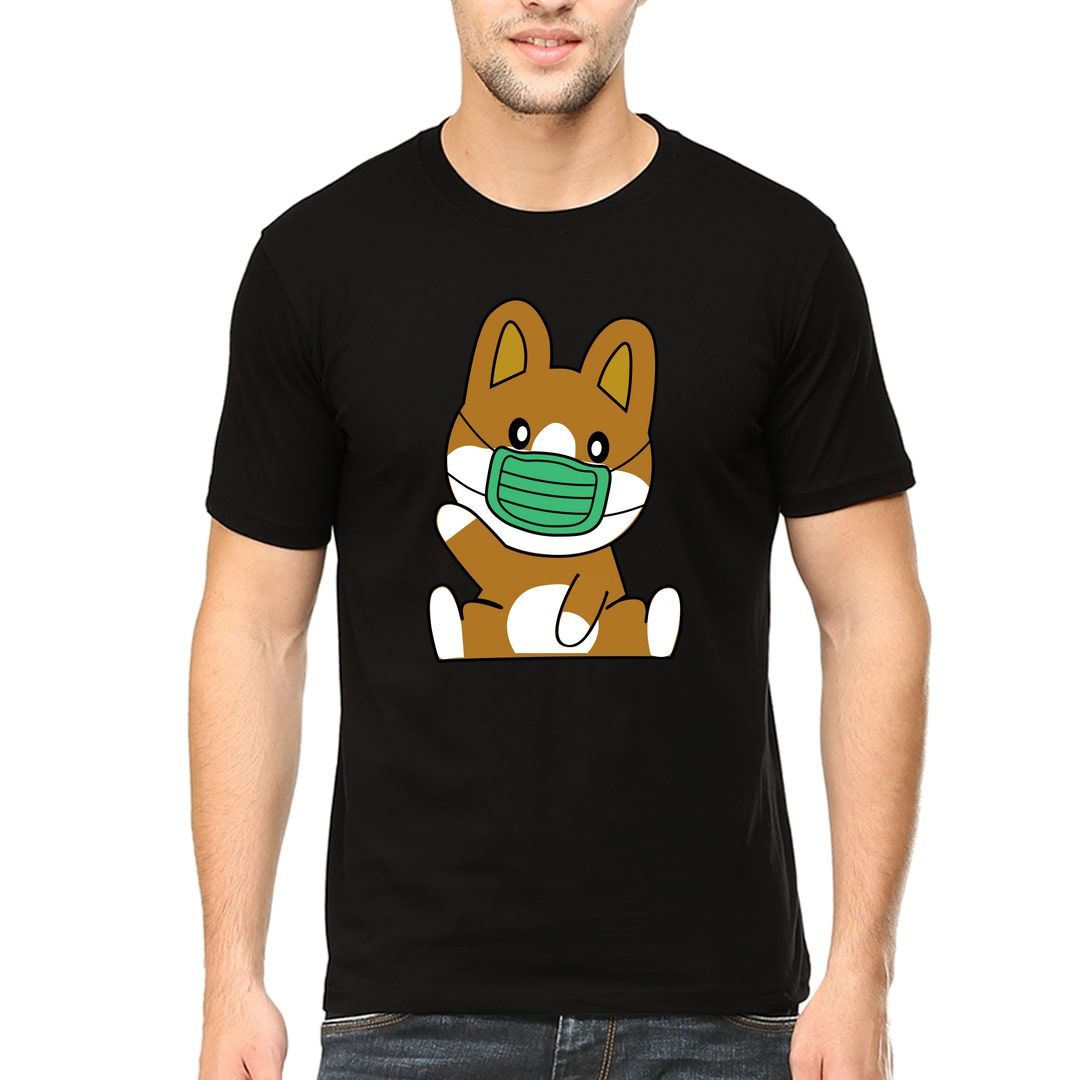 30437a54 I Love Dogs With Cute Dog Wearing Mask Men T Shirt Black Front
