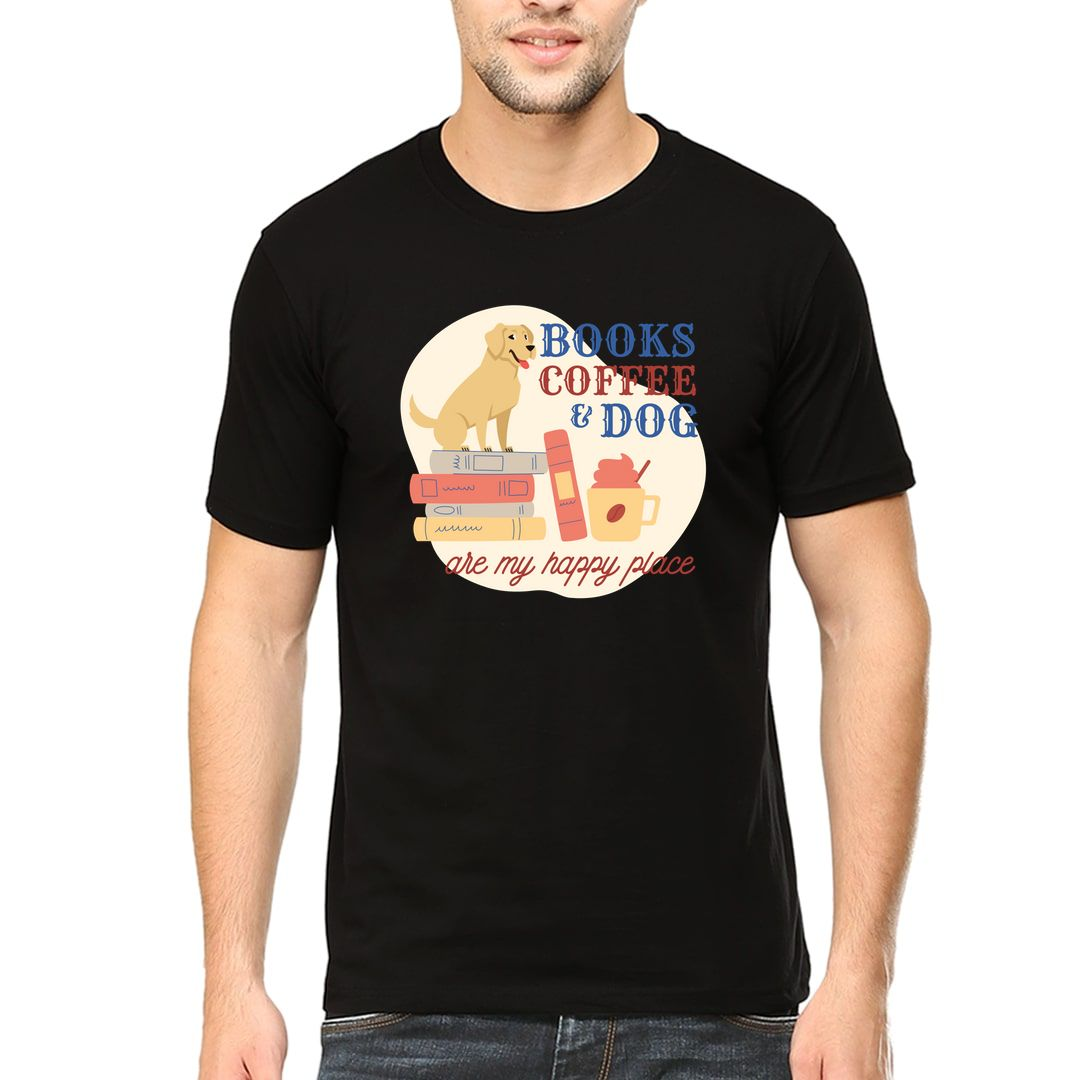 30e863ad Books Coffee And Dog Are My Happy Places Men T Shirt Black Front