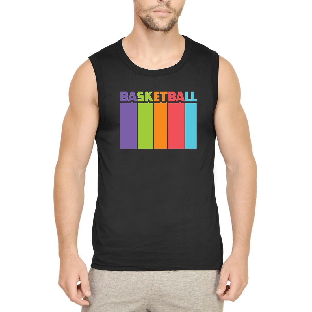 3157ddb7 Basketball Tall And Colourful Men Sleeveless T Shirt Vest Black Front