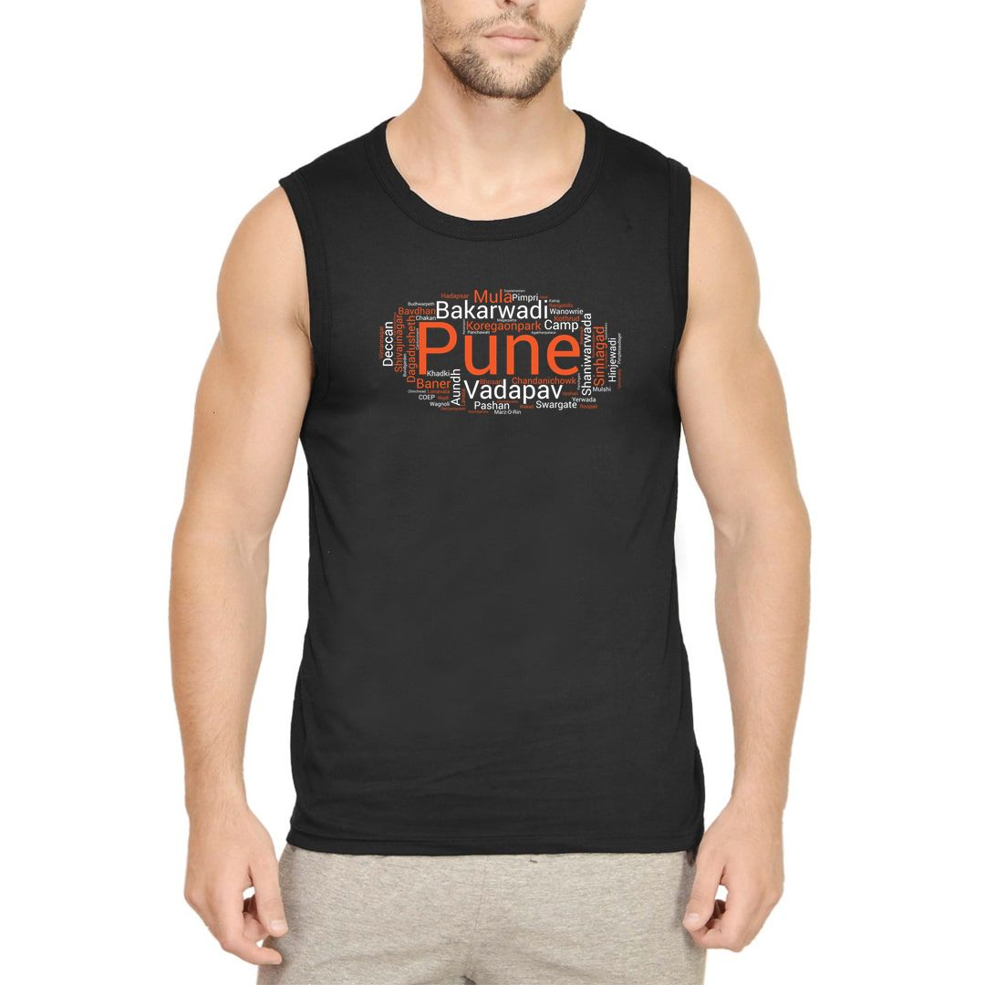 32ff4358 Pune Places Foods And Attractions Men Sleeveless T Shirt Vest Black Front