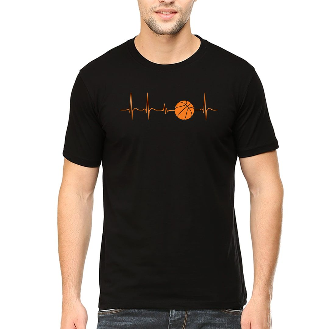 34f4a382 Basketball Its In My Heartbeat Men T Shirt Black Front