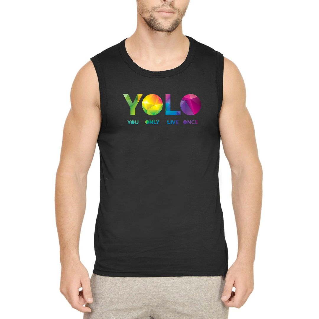 3896a43a Yolo – You Only Live Once Men Sleeveless T Shirt Vest Black Front