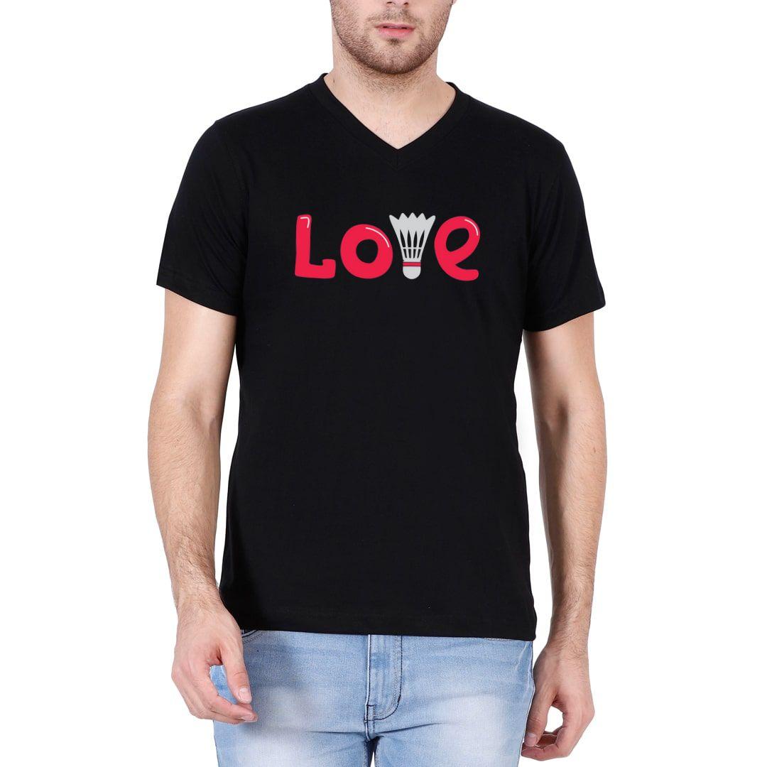 38aad436 Love Badminton Men V Neck T Shirt Black Front