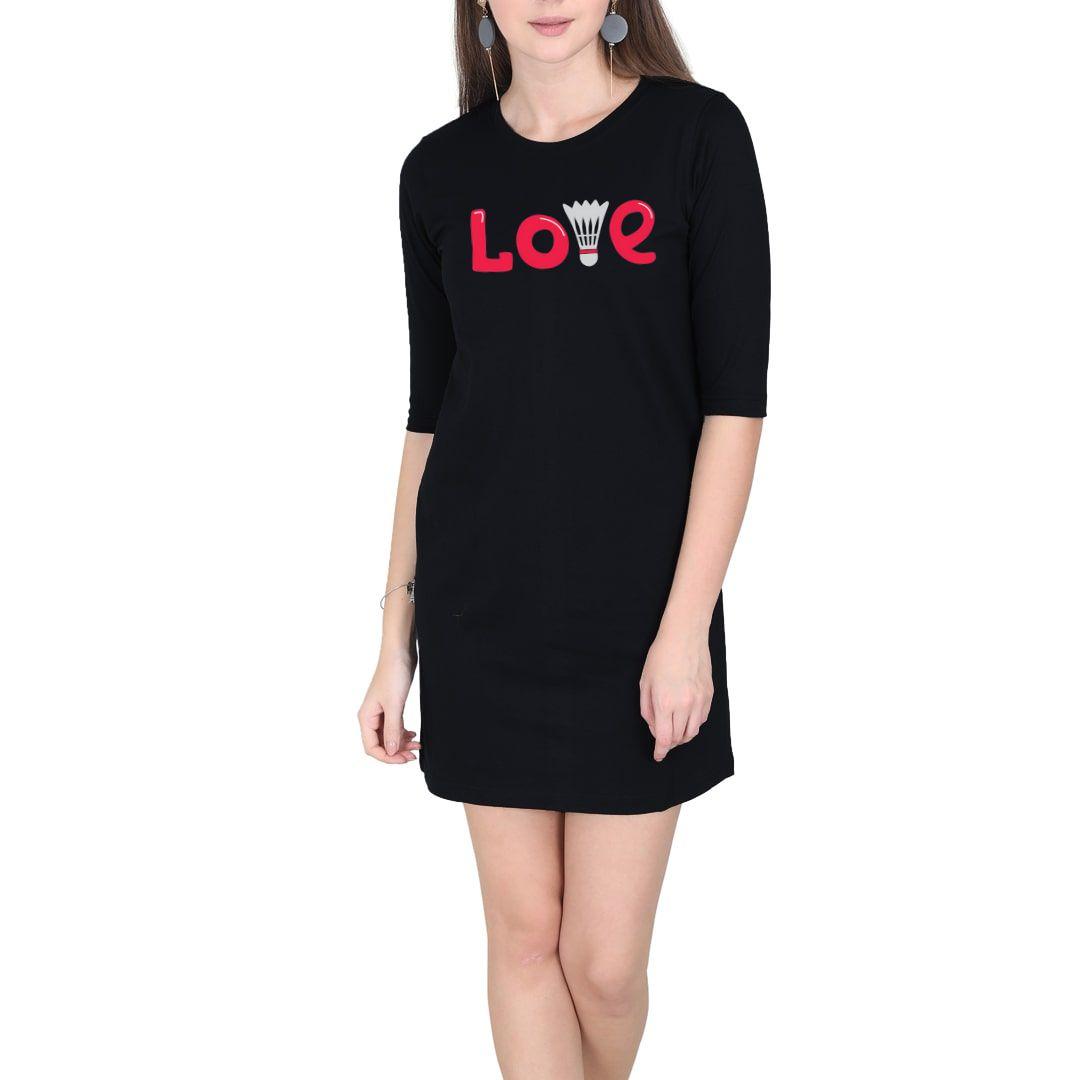 38aad436 Love Badminton Women T Shirt Dress Black Front