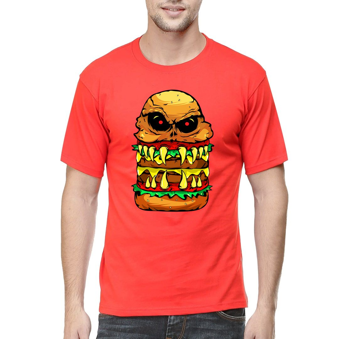 3c0b85a3 Funny Scary Cheese Burger Men T Shirt Red Front