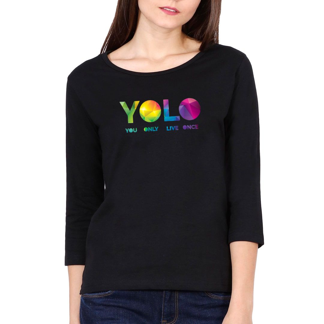 3d4340b7 Yolo – You Only Live Once Elbow Sleeve Women T Shirt Black Front
