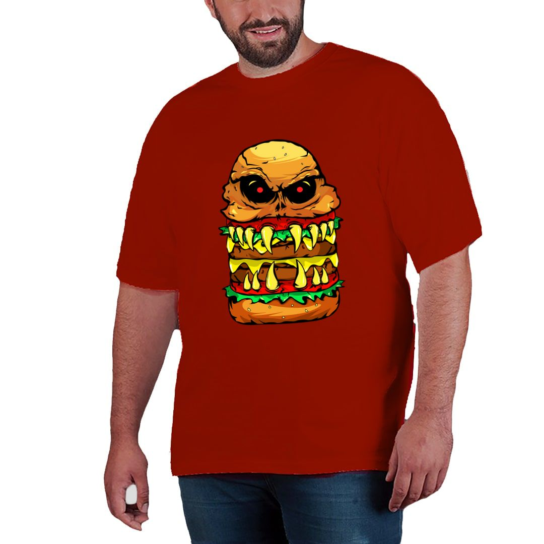 430f762d Funny Scary Cheese Burger Plus Size T Shirt Red Front