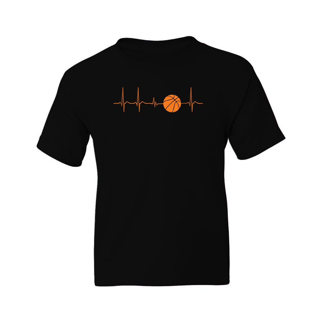 43c5b999 Basketball Its In My Heartbeat Kids T Shirt Black Front