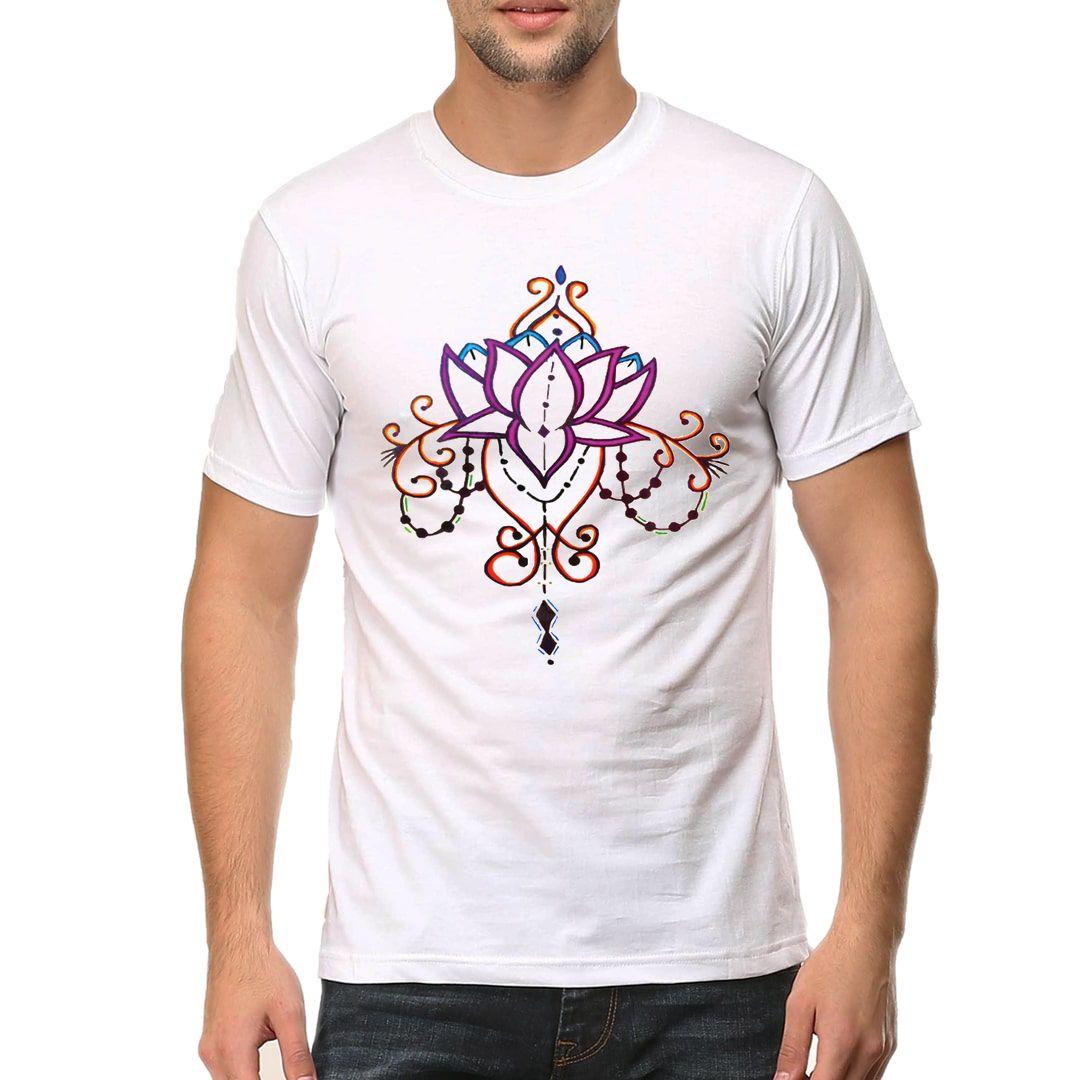 4413acb5 Lotus Pattern Men T Shirt White Front
