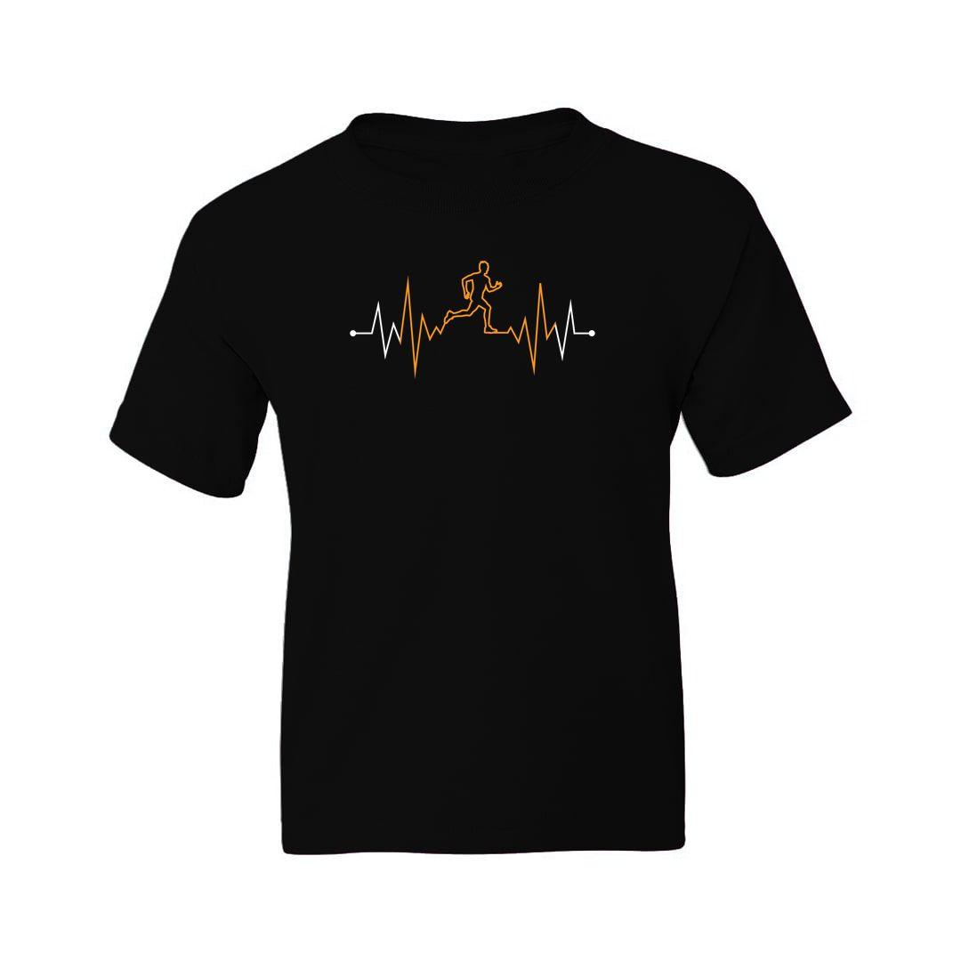 450d722a Running Heartbeat Kids T Shirt Black Front