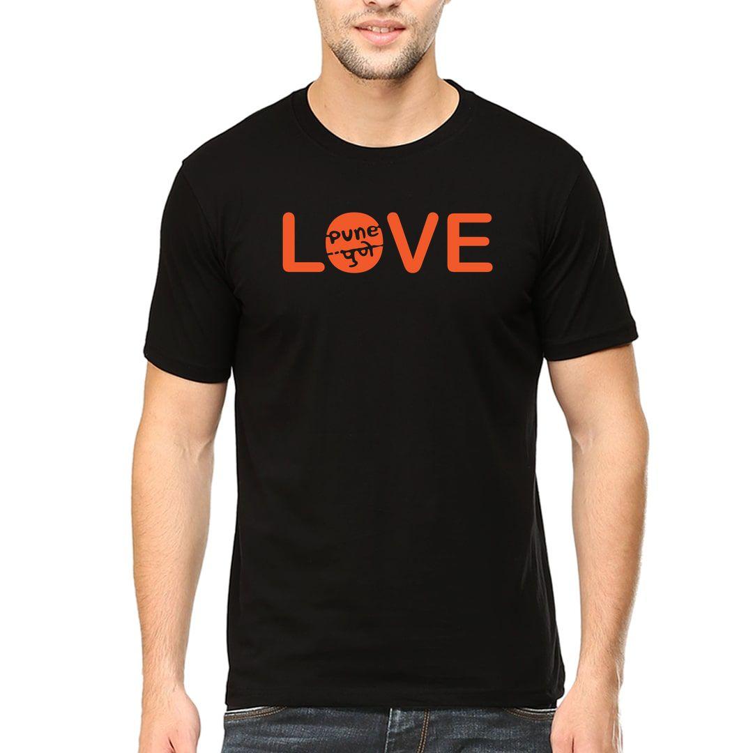 45f297c5 Love Pune Marathi Pride Men T Shirt Black Front