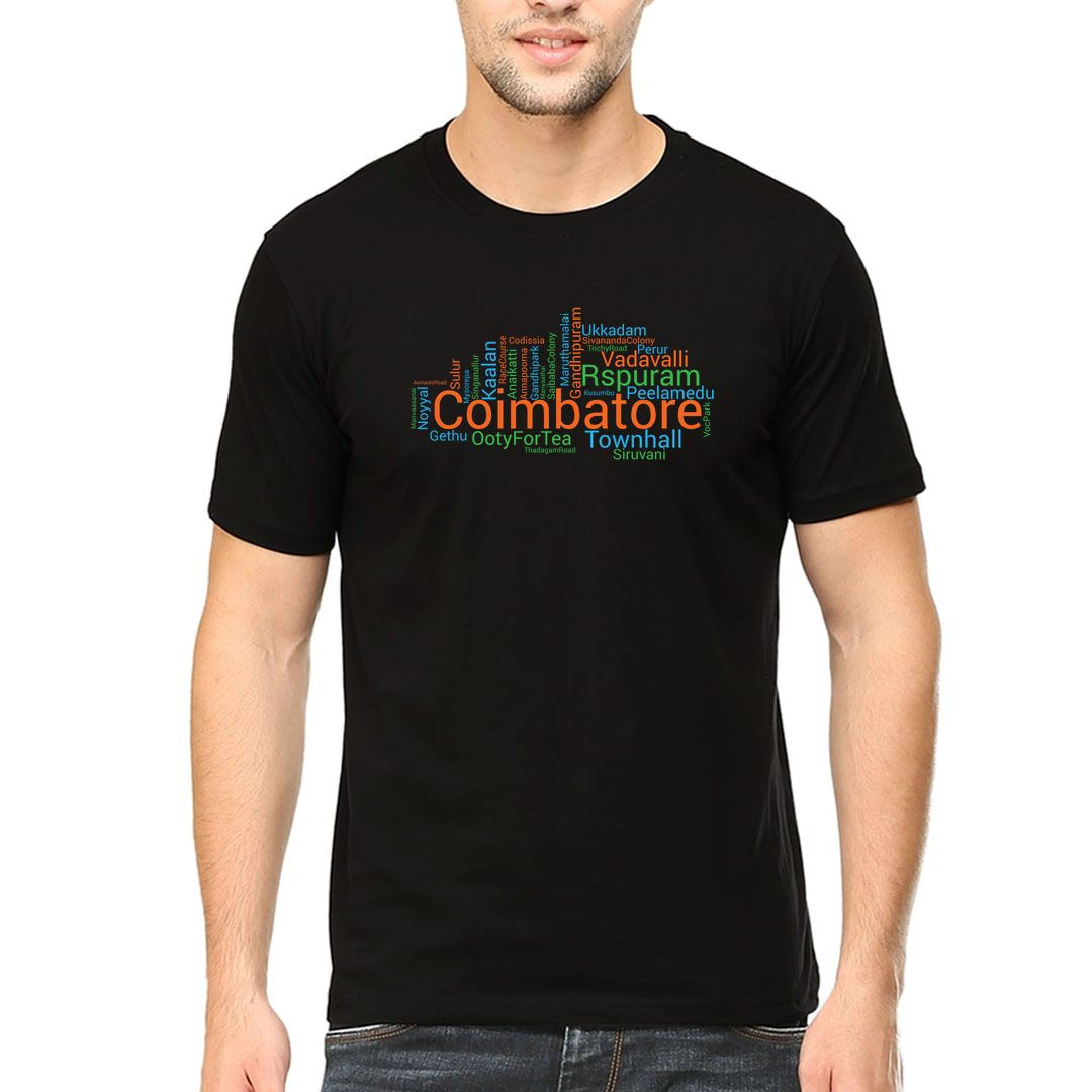4895ad33 Coimbatore Places Foods And Attractions Word Cloud Men T Shirt Black Front