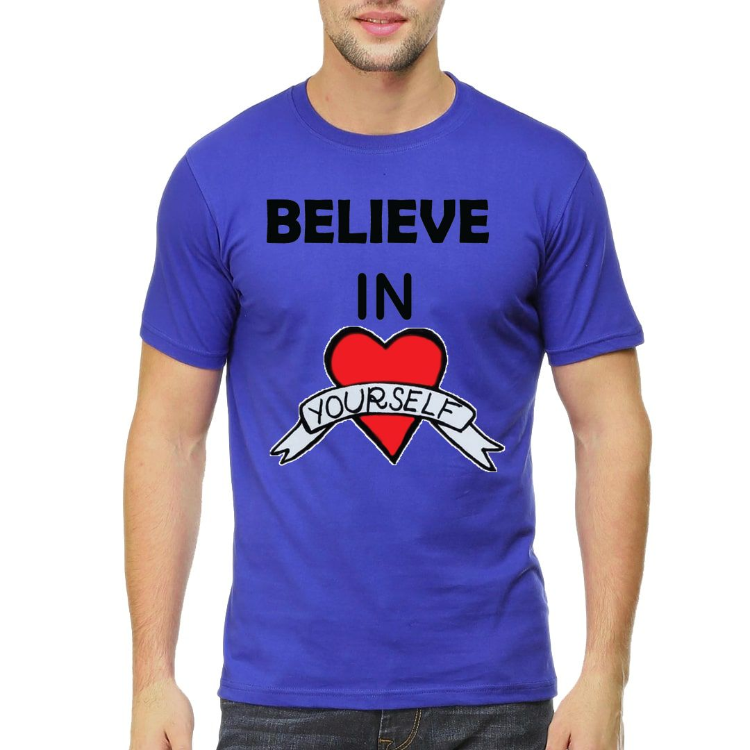 4d712334 Believe In Yourself Men T Shirt Royal Blue Front