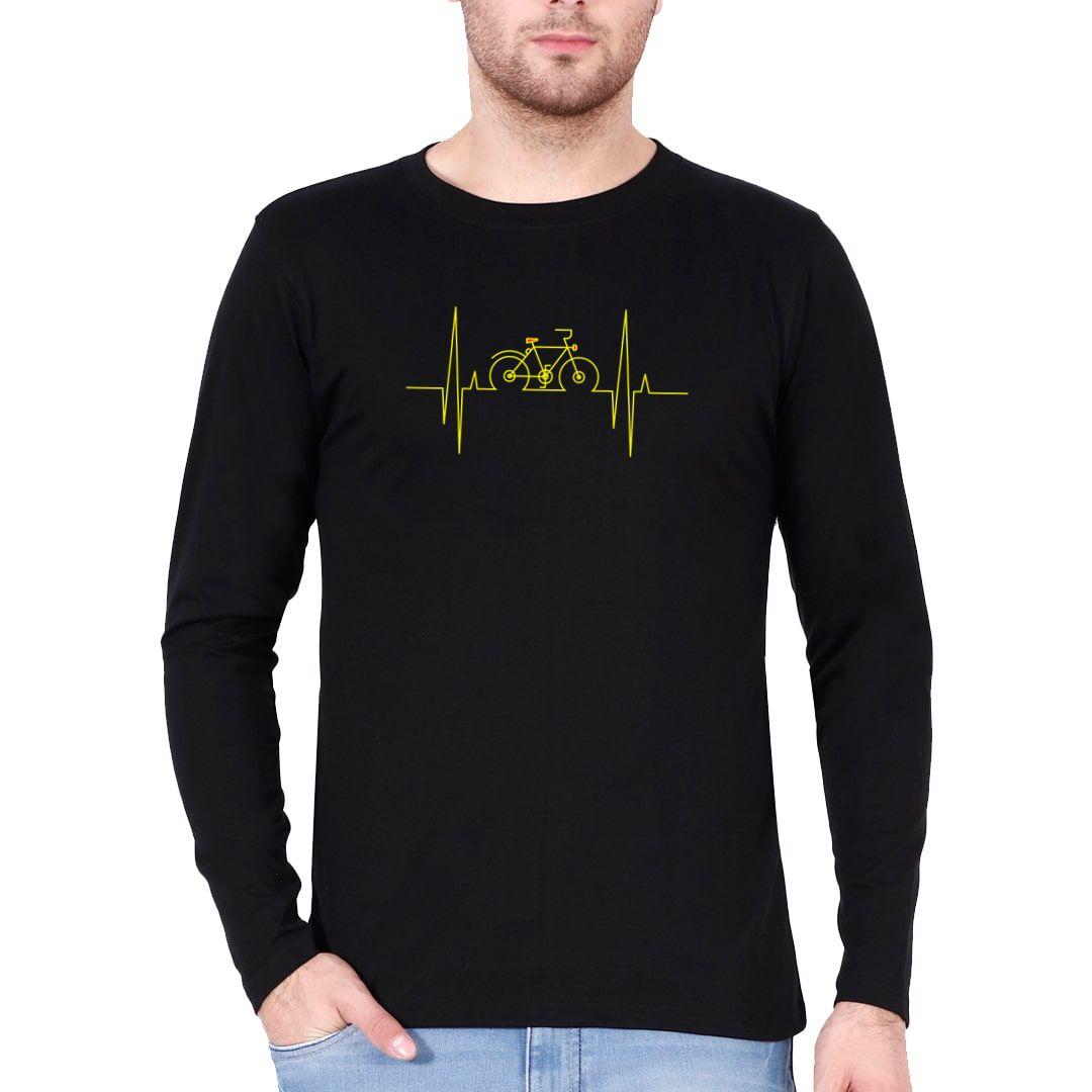 4dff31c9 Cycling Heartbeat Full Sleeve Men T Shirt Black Front