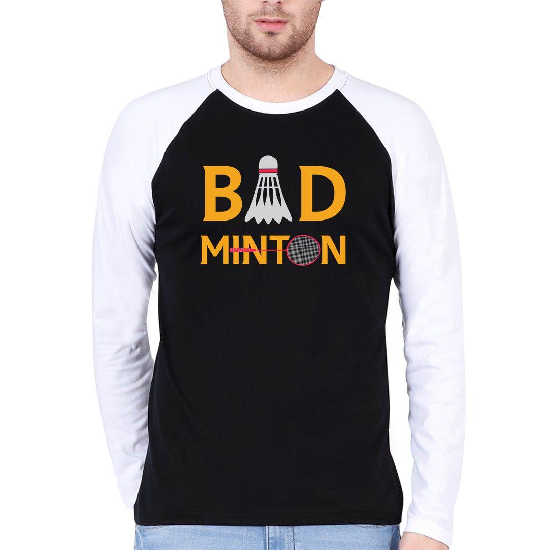 4e91e9ef Bad Minton Men Raglan Full Sleeve T Shirt White Black Front