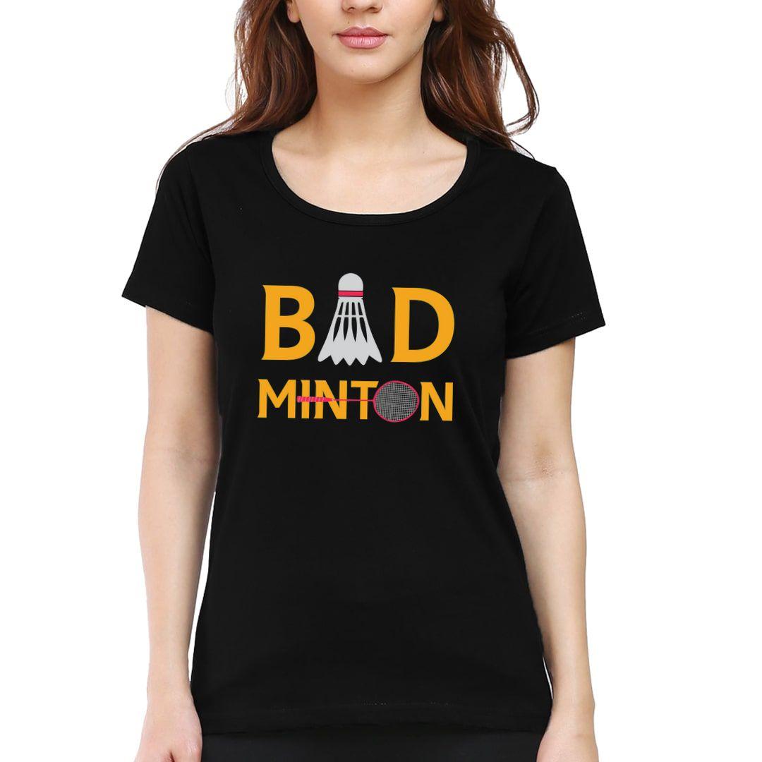 4e91e9ef Bad Minton Women T Shirt Black Front