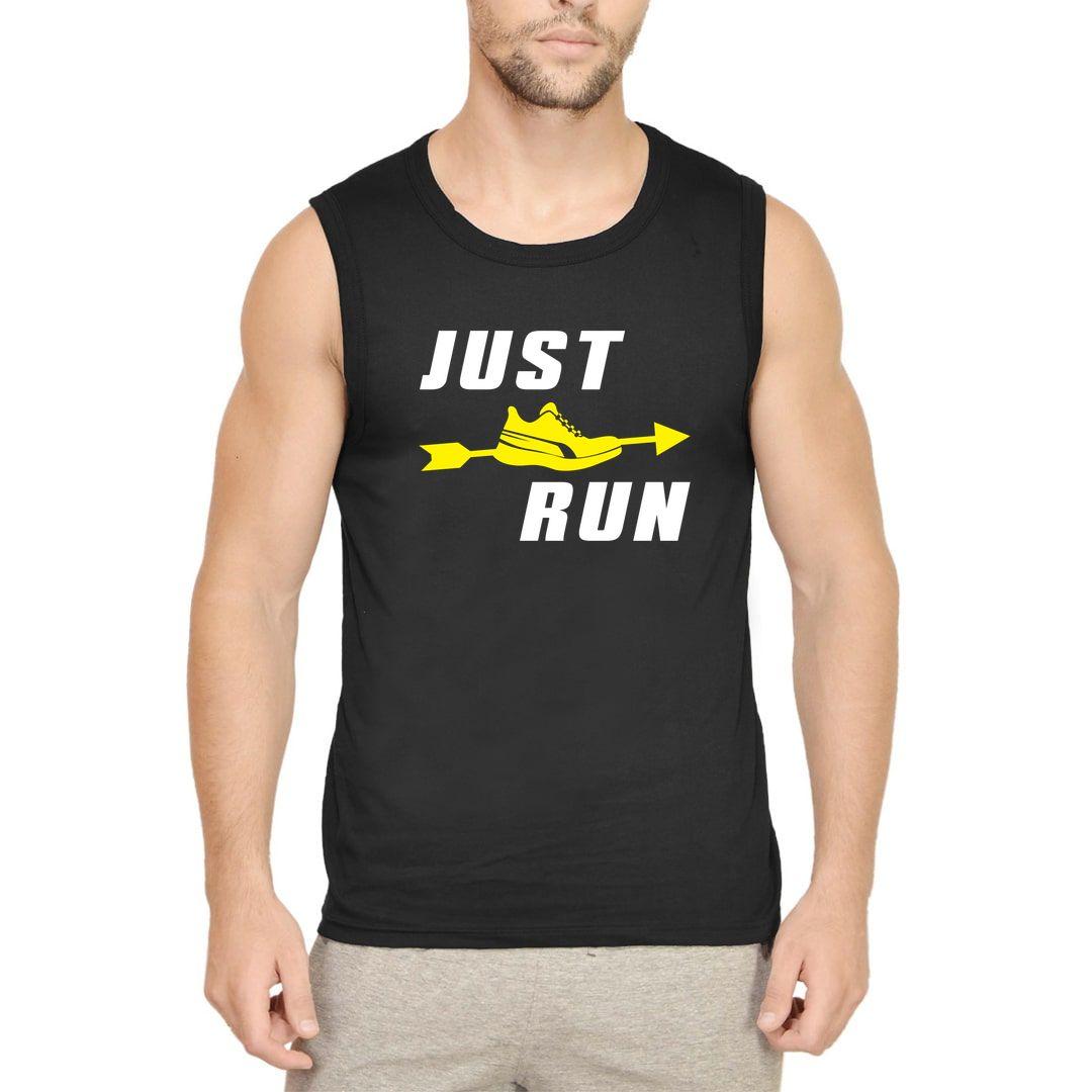 4ee00e84 Just Run Men Sleeveless T Shirt Vest Black Front