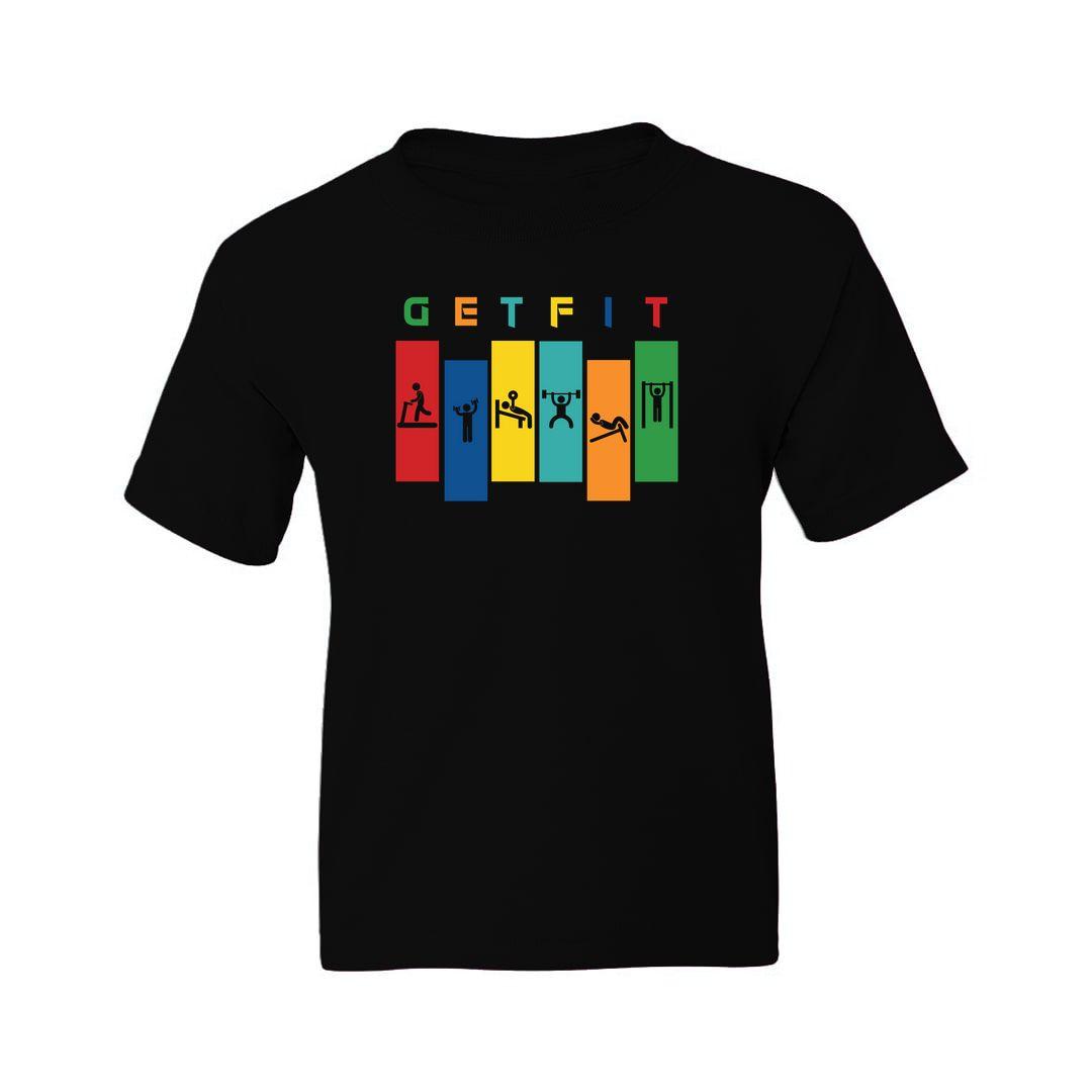 5239e4a8 Get Fit Kids T Shirt Black Front