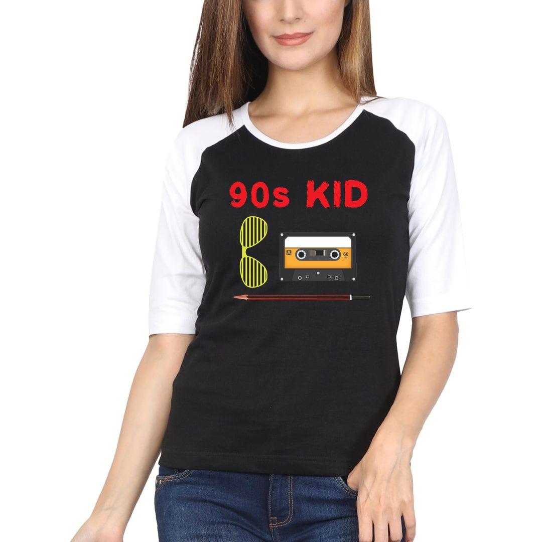53e86408 90s Kid Women Raglan Elbow Sleeve T Shirt White Black Front
