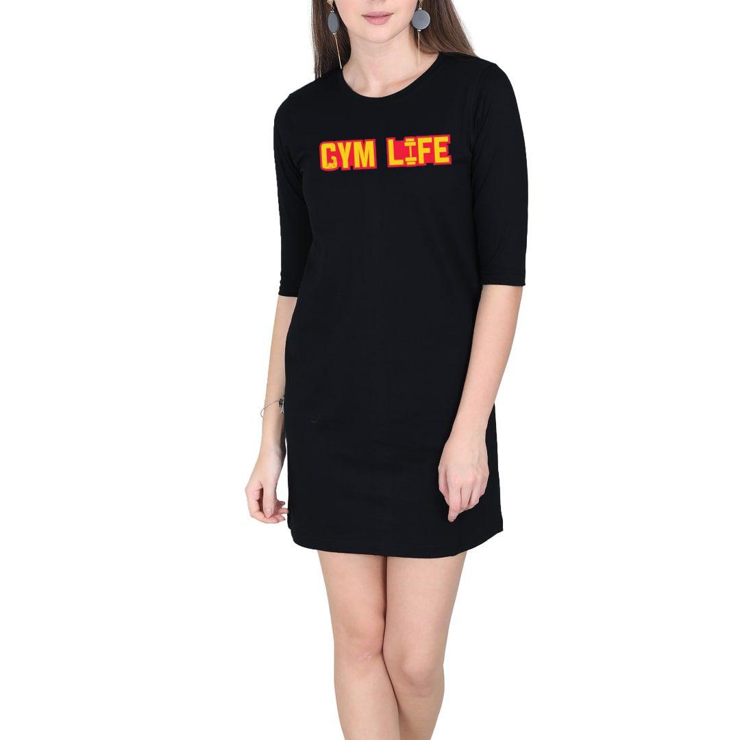 59a28849 Gym Life Women T Shirt Dress Black Front