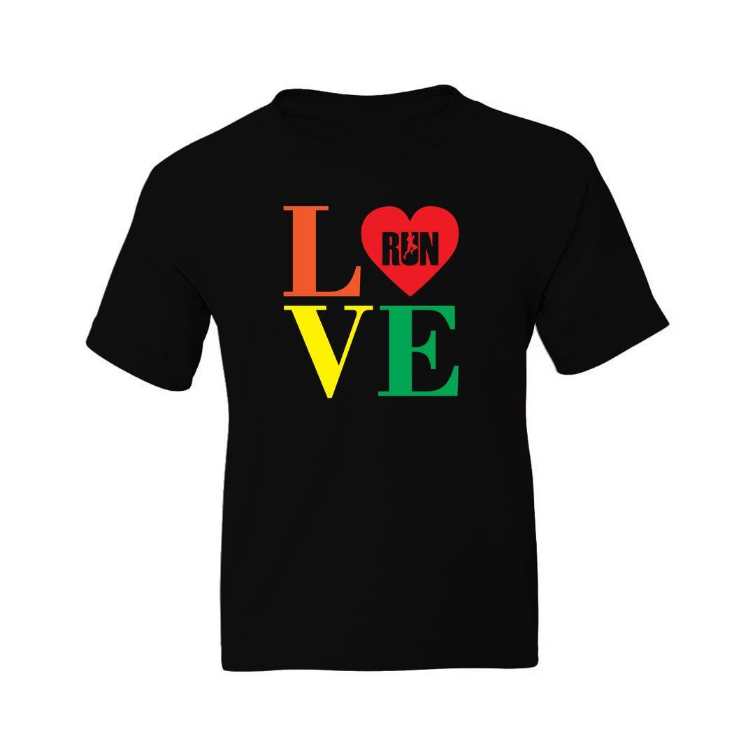 66ce2a16 Love Run Kids T Shirt Black Front