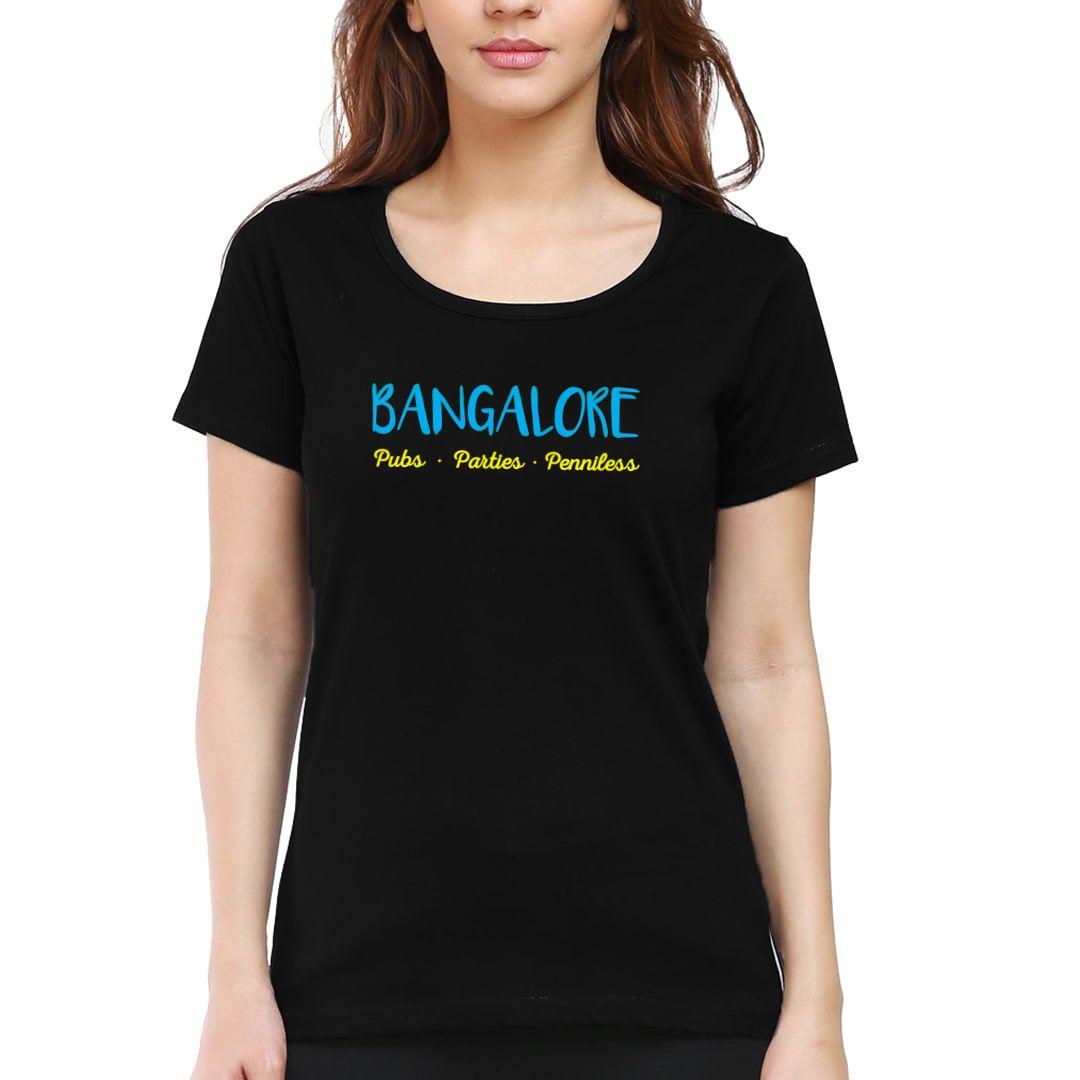 6716bb98 Bangalore – Pubs Parties Penniless Women T Shirt Black Front