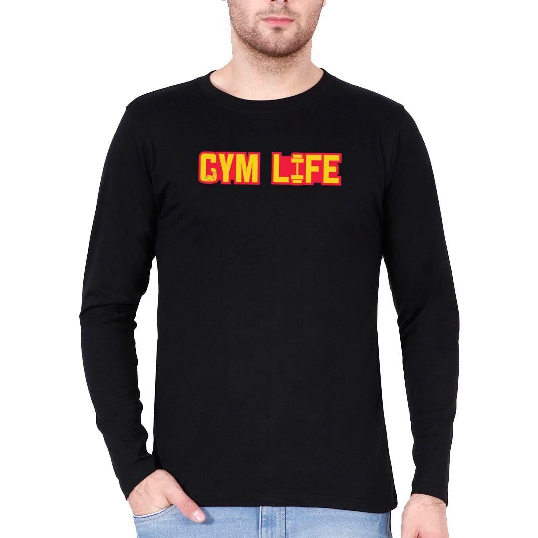 67f8b29d Gym Life Full Sleeve Men T Shirt Black Front