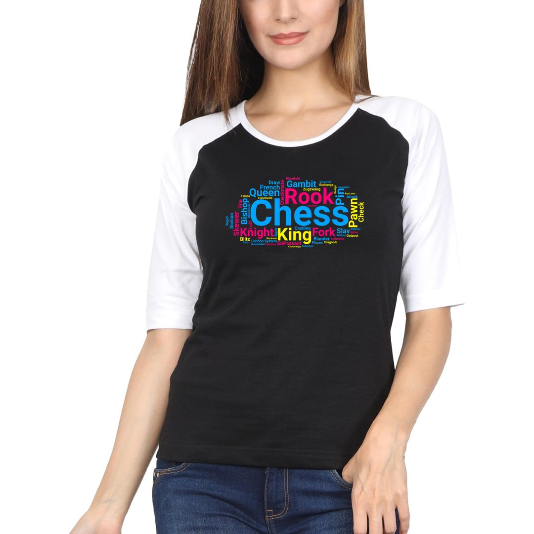 68fbd838 Chess Pieces Moves And Terminology Word Cloud Women Raglan Elbow Sleeve T Shirt White Black Front