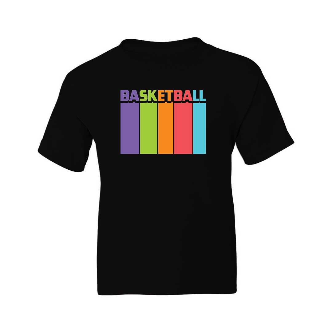 6904d867 Basketball Tall And Colourful Kids T Shirt Black Front