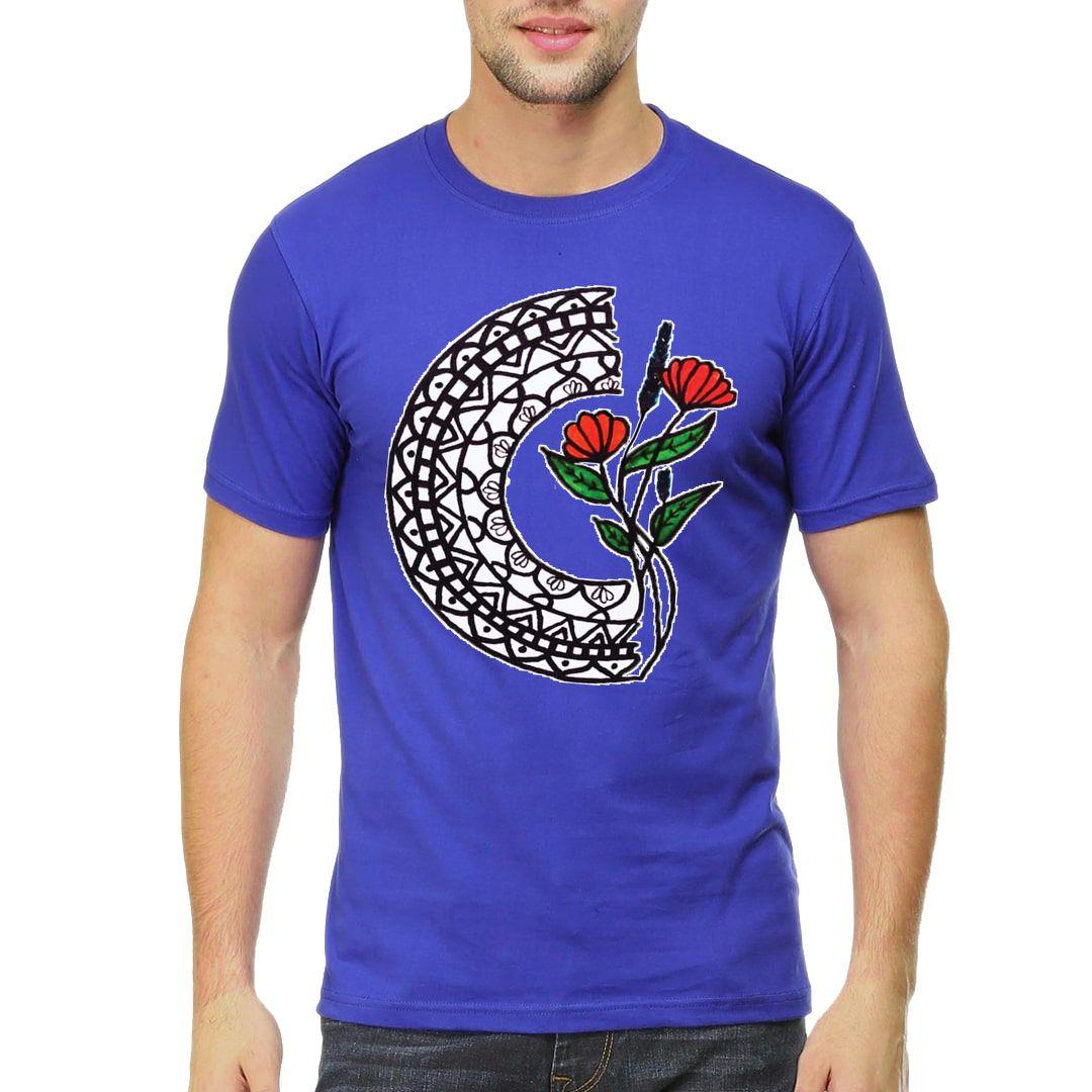 6a1af12f Mandala Floral Men T Shirt Royal Blue Front