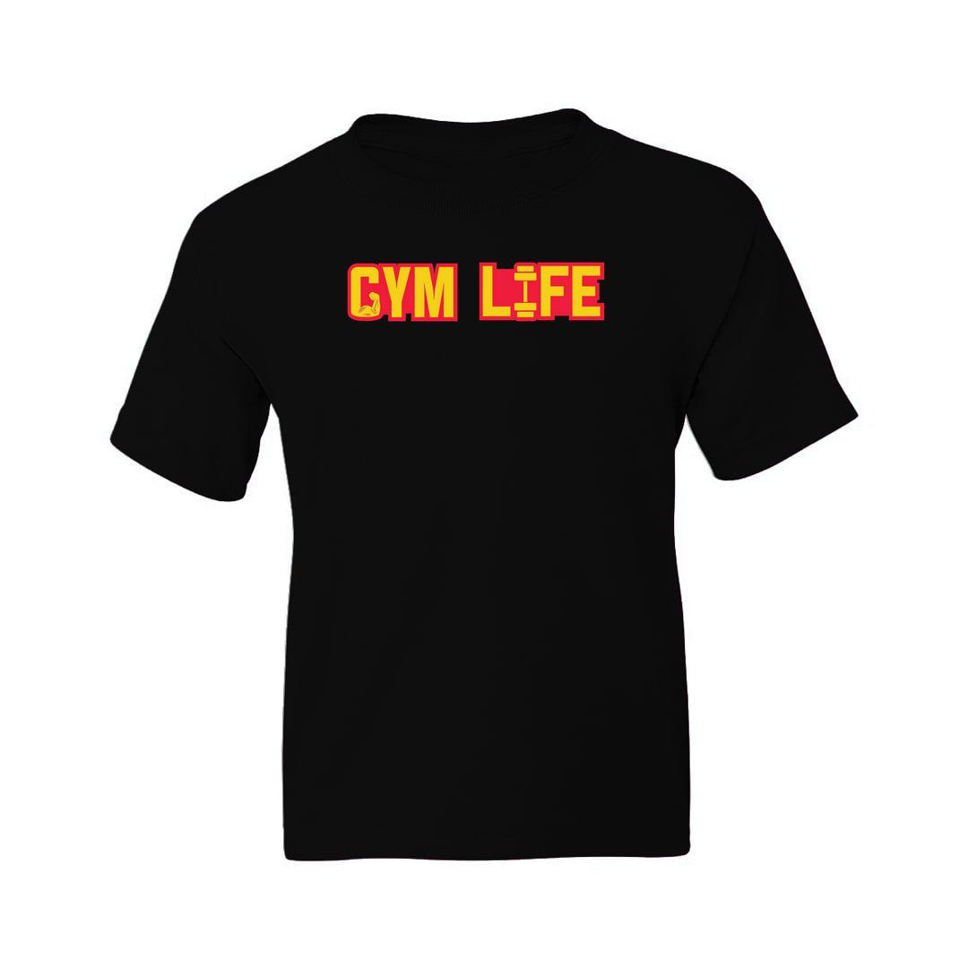 6a6444bb Gym Life Kids T Shirt Black Front