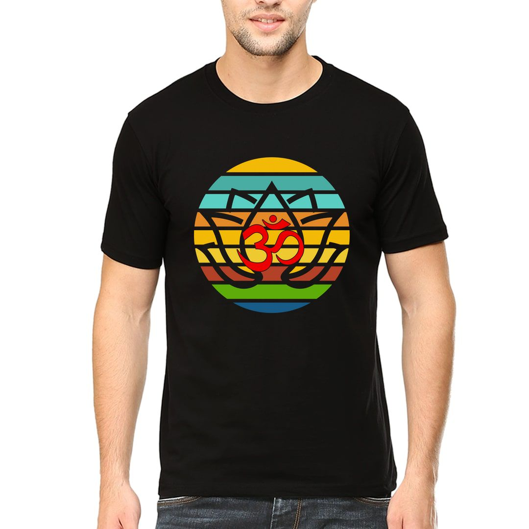 6b5a14c5 Om Yoga Peace Love Men T Shirt Black Front