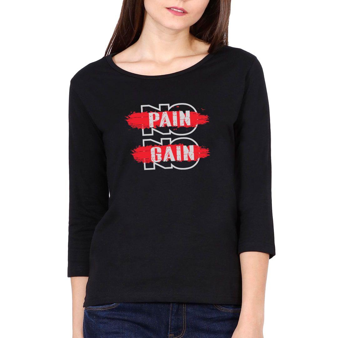 6f8c83cc No Pain No Gain Elbow Sleeve Women T Shirt Black Front