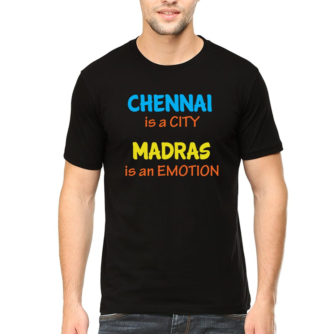 72e0212c Chennai Is A City Madras Is An Emotion Men T Shirt Black Front
