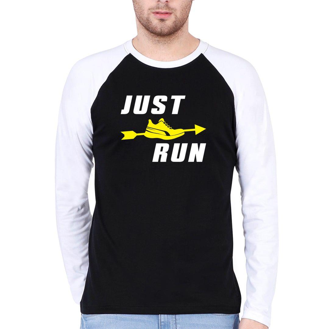 741c8fd5 Just Run Men Raglan Full Sleeve T Shirt White Black Front