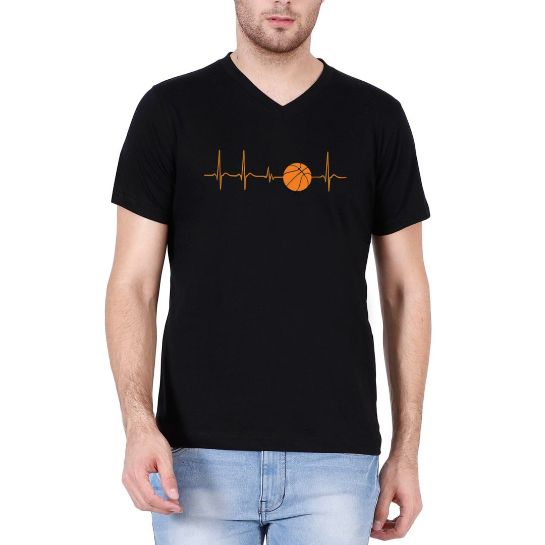 77a9943c Basketball Its In My Heartbeat Men V Neck T Shirt Black Front