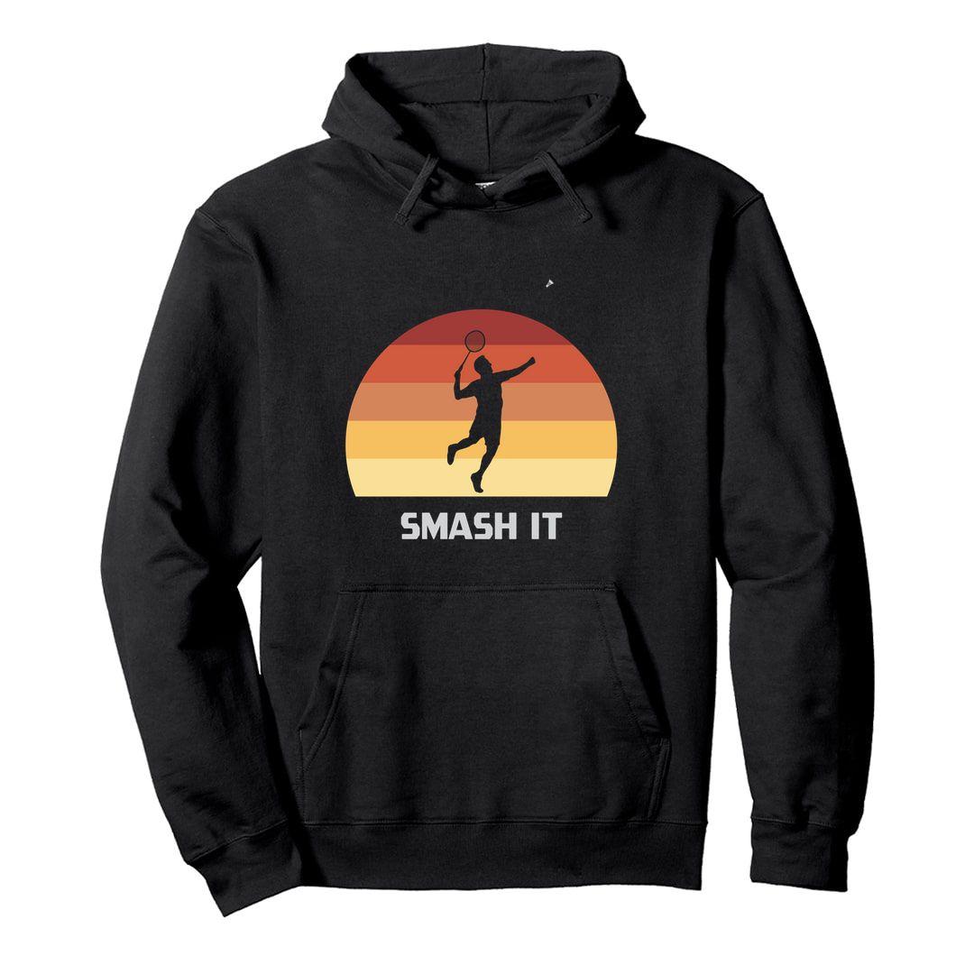 7b4d4a7f Smash It Retro Vintage Style Unisex Hooded Sweatshirt Hoodie Black Front