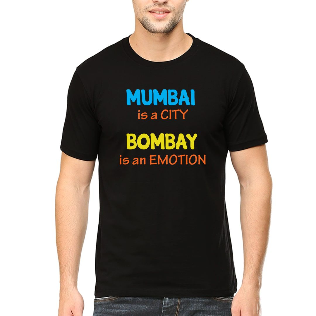7b5655ee Mumbai Is A City Bombay Is An Emotion Men T Shirt Black Front