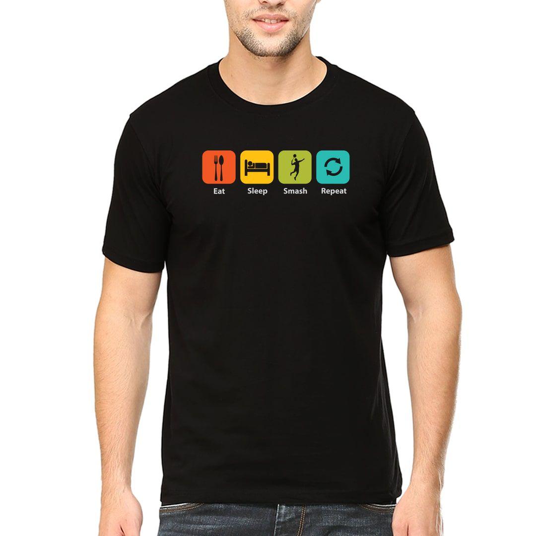 7be105a0 Eat Sleep Smash Repeat Men T Shirt Black Front