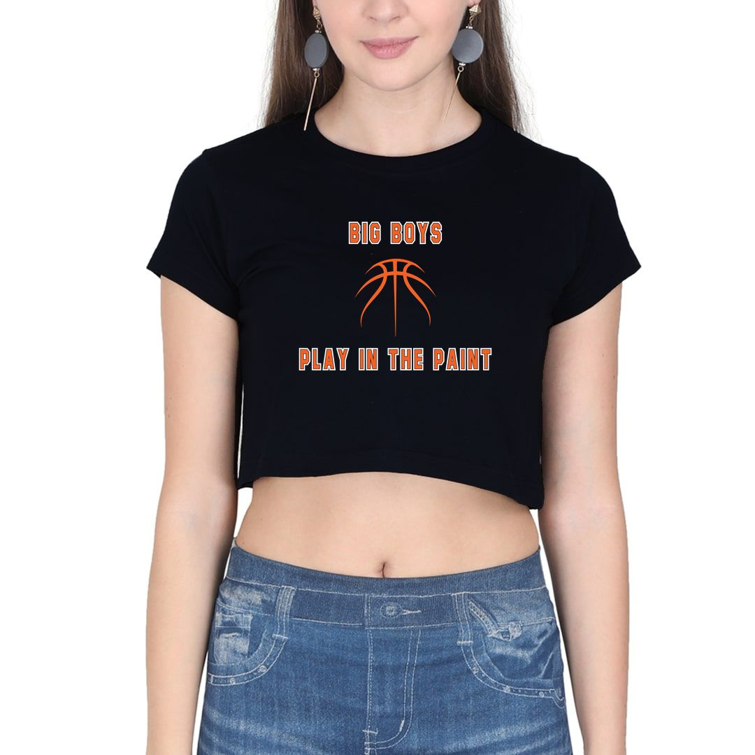 8031a916 Big Boys Play In The Paint Basketball Women Crop Top Black Front