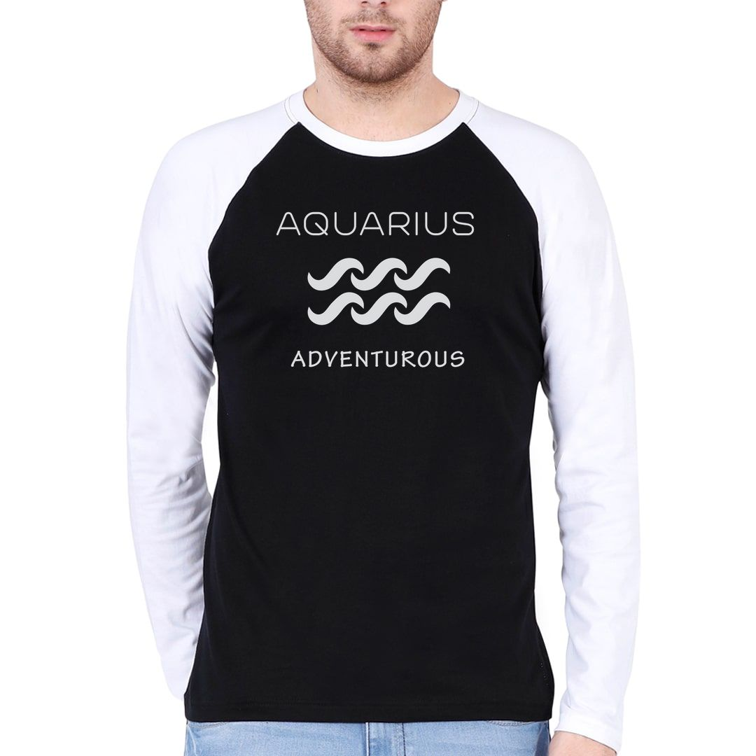 82a19eff Aquarius – Adventurous Men Raglan Full Sleeve T Shirt White Black Front