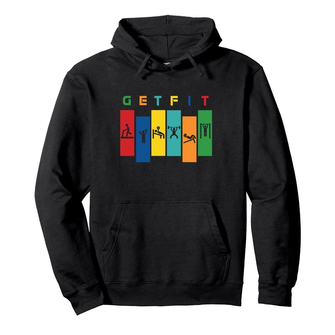 872a5695 Get Fit Unisex Hooded Sweatshirt Hoodie Black Front