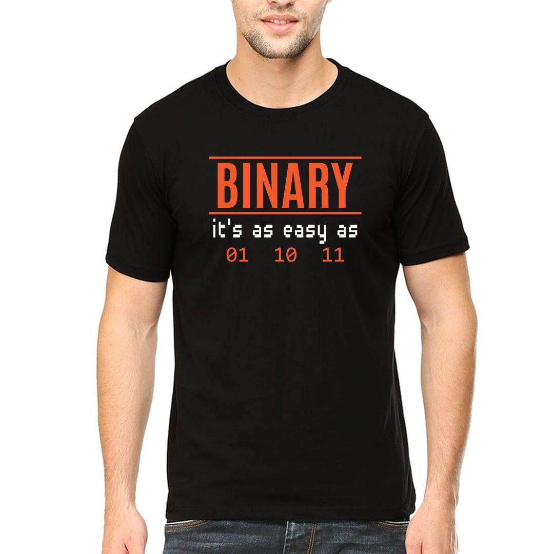 8ec83433 Binary Its As Easy As 01 10 11 Men T Shirt Black Front